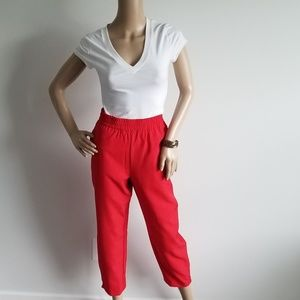 NWT ELOQUII RED CROP ANKLE ZIP PULL ON PANT 14